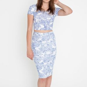 American Apparel Floral Ponte Pencil Skirt